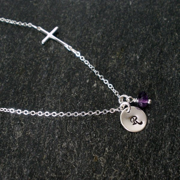 sideways cross necklace with initial amethyst women