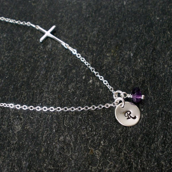 sideways cross necklace with initial amethyst gemstone