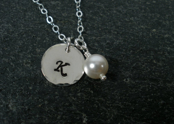 sterling silver hammered initial necklace personalized