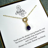 unique sister gift gold interlocking circle necklace amethyst