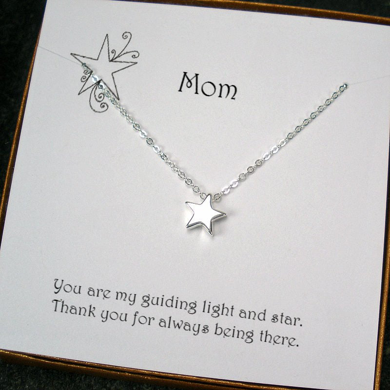 mom gifts message card jewelry silver star necklace