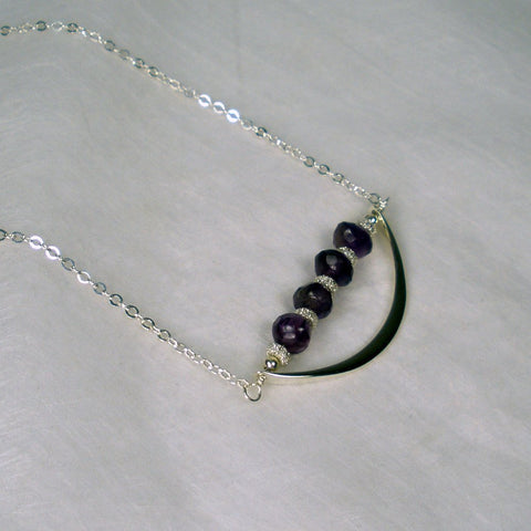 gift for women amethyst necklace birthstone jewelry crescent