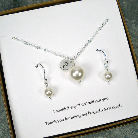 personalized bridesmaid gift initial pearl jewelry set silver
