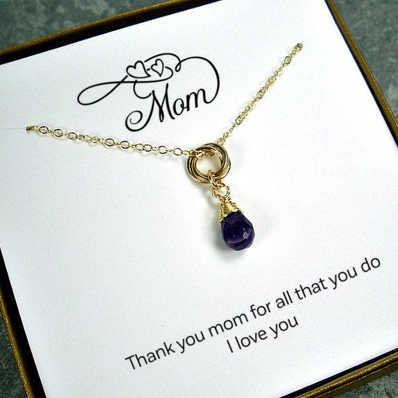 mom gift gold interlocking necklace message card jewelry