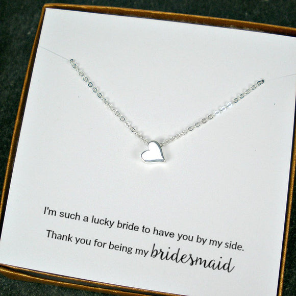 bridesmaid necklaces bridal party gift silver heart necklace