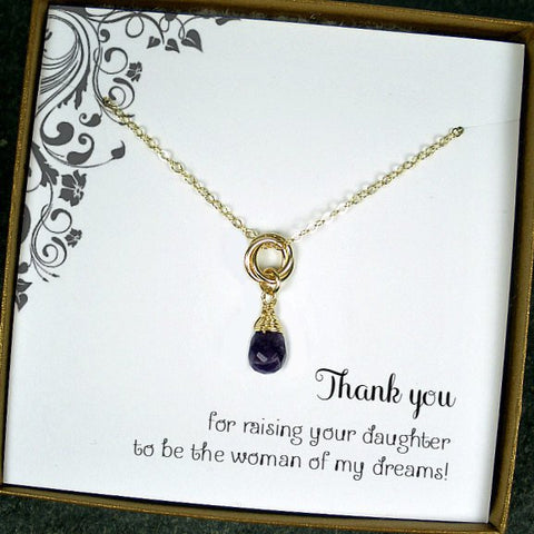 mother of the bride gift amethyst gold necklace