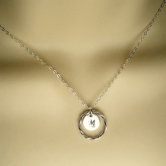 initial necklace with circle personalized karma jewelry silver