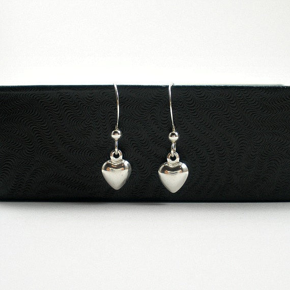 Small heart jewelry dangle drop sterling silver