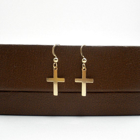 Gold Cross Earrings, Simple, Small Cross, Trendy, Minimal Jewelry, 14k GF