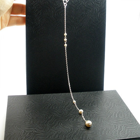 bridal pearl backdrop necklace wedding swarovski silver