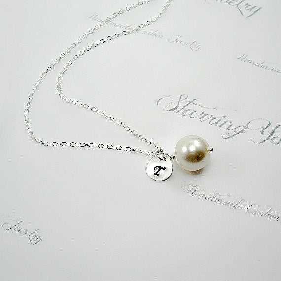 Bridesmaid Jewelry Gift Set Personalized Initial single Pearl Necklace sterling silver