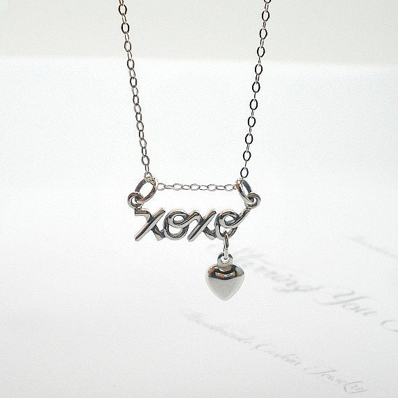 sterling silver xoxo necklace heart charm