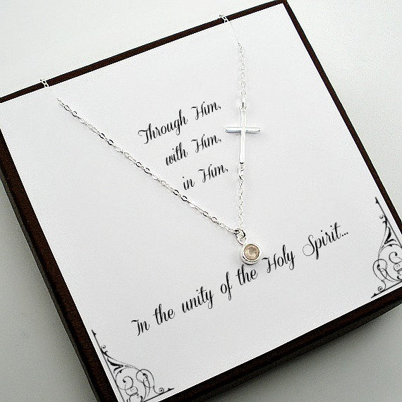 confirmation first communion gift, side cross necklace sterling silver