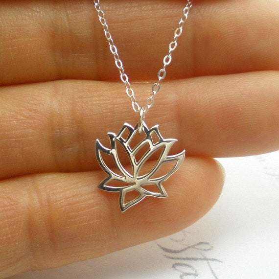 birthday gift for mom sterling silver lotus necklace