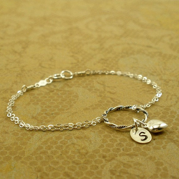 Circle Bracelets, Heart, Initial, Eternity Jewelry, Personalized Gifts
