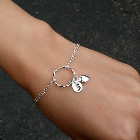 personalized circle bracelet initial heart charm sterling silver