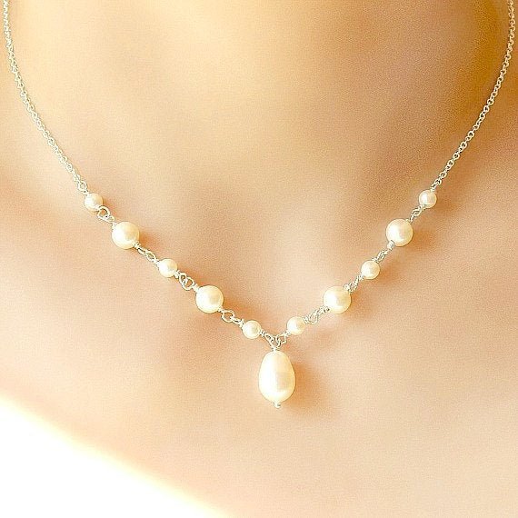 bride pearl necklace wedding swarovski sterling silver