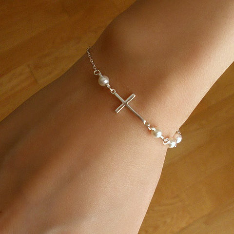 Sideways Cross Pearl Bracelet Side Cross Sterling SIlver Womens Bracelet