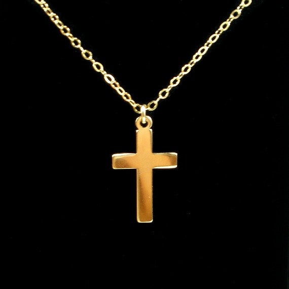 Gold Simple Cross Necklace, Christian, Christmas Gift, Cross Jewelry