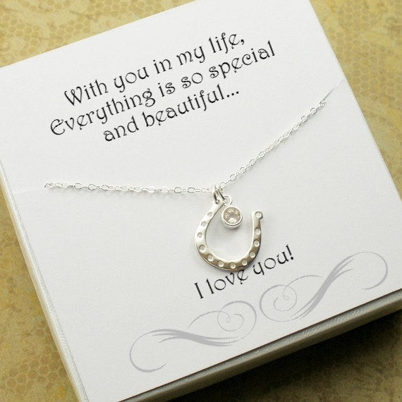 gifts for her horseshoe necklace message card jewelry