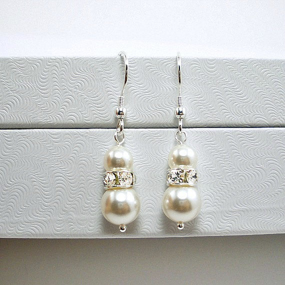 Wedding Pearl Earrings, Bridal Pearl Dangle, Bridesmaid Jewelry Gift