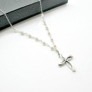 cross pearl necklace unique custom jewelry for women