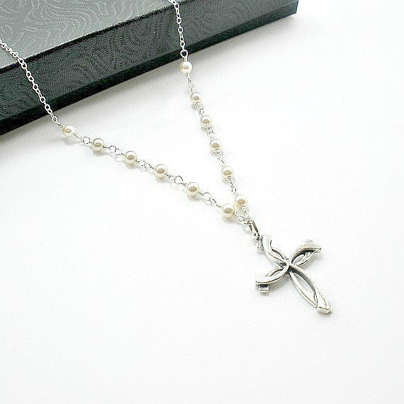 cross pearl necklace unique custom jewelry gift for women handmade in USA