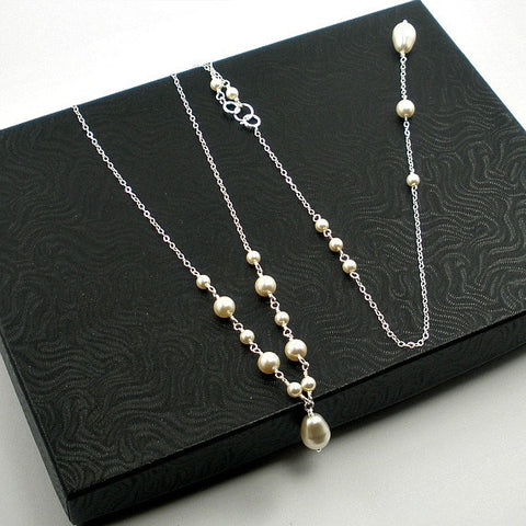 pearl backdrop necklace bride wedding jewelry swarovski