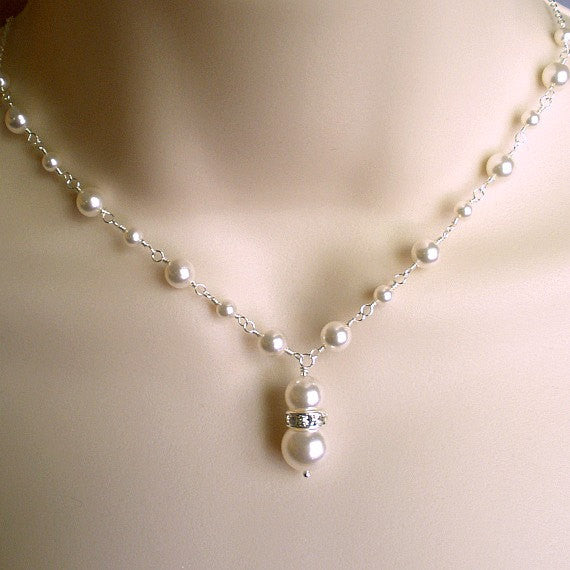 pearl wedding necklace custom bridal jewelry swarovski sterling silver