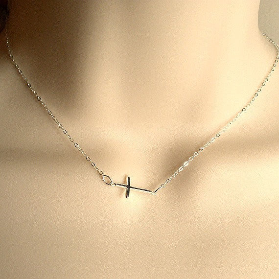 small sideways cross necklace sterling silver