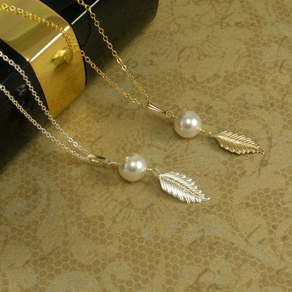 Single Pearl Necklace, Leaf Jewelry, Pearl Drop Necklace, Wedding Gift