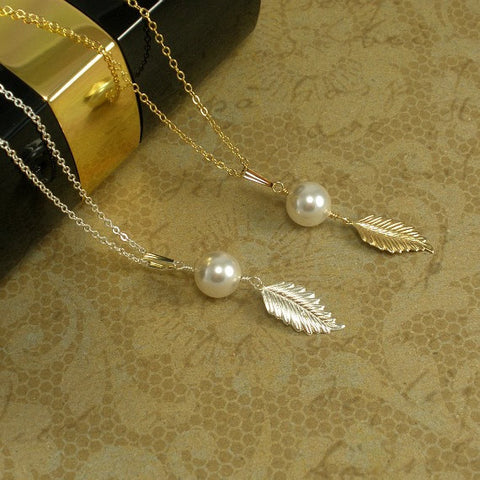 Single Pearl Necklace, Leaf Jewelry, Pearl Drop Necklace