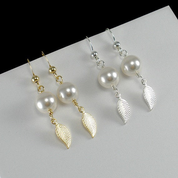 pearl leaf earrings gold or silver