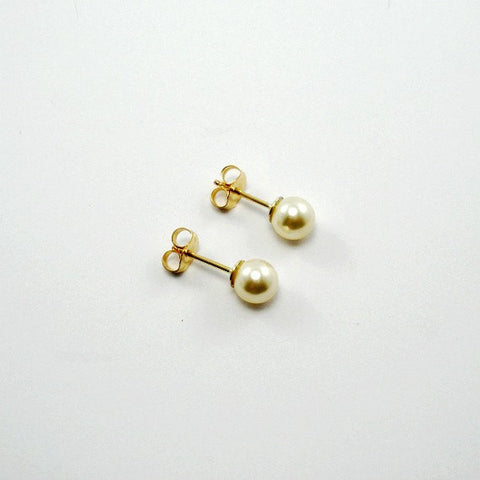 tiny pearl stud earrings gold
