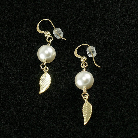 Gold Leaf Earrings, Dangle Drop Pearl, Wedding Jewelry Bridesmaid Gift