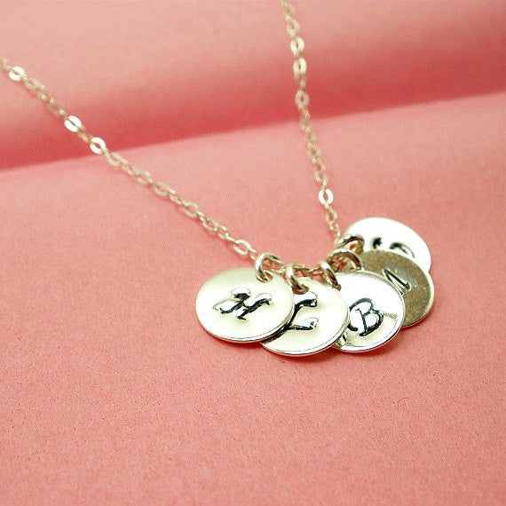 personalized initials necklace sterling silver handmade