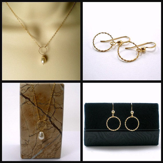 dainty gold circle jewelry set