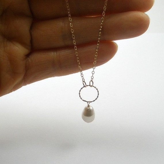 Dainty Pearl Jewelry Gold Necklace and Earring Set Gifts