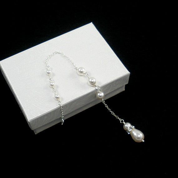 Pearl Backdrop Attachment Necklace, Sterling Silver
