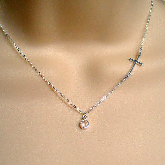 Sideways Cross Necklace with Rose Quartz Gemstone Silver