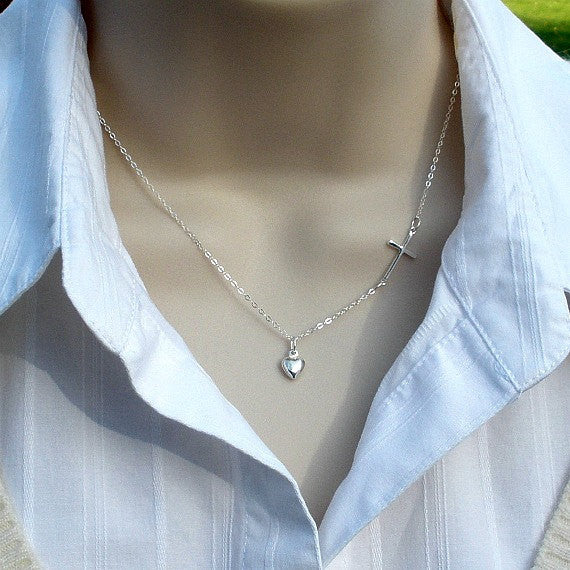 sterling silver sideways cross necklace with heart charm