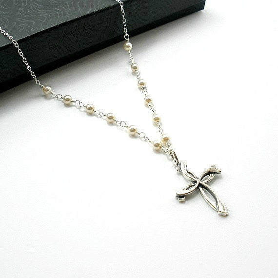 mother of bride gift mom groom jewelry pearl cross necklace sterling silver swarovski
