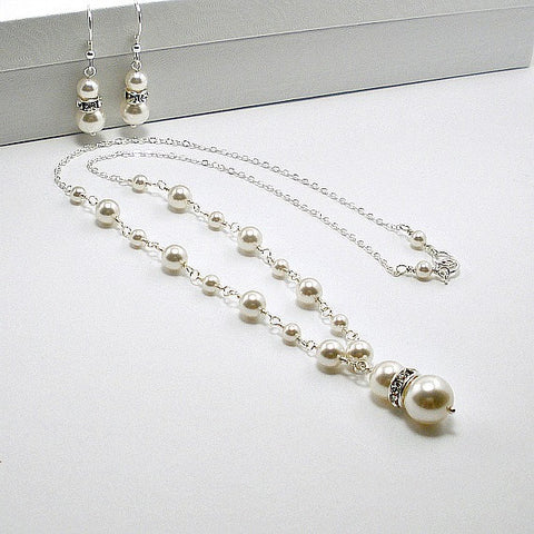 Wedding Pearl Jewelry, Bride white Pearl Necklace, Backdrop, Earrings, cream pearl, wedding gifts