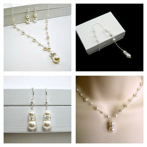 bridal pearl jewelry set necklace earrings backdrop Swarovski