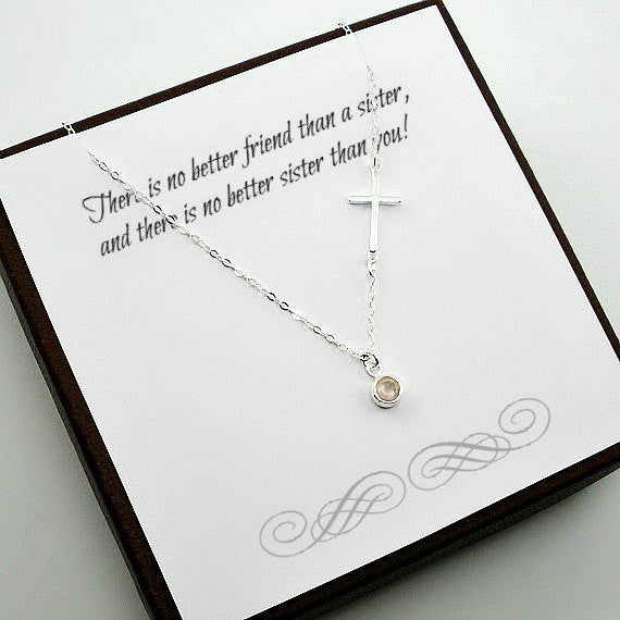 Best Sister Gift Trendy Sideway Cross Necklace Birthstone Gemstone Silver