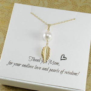 mom gifts pearl leaf necklace