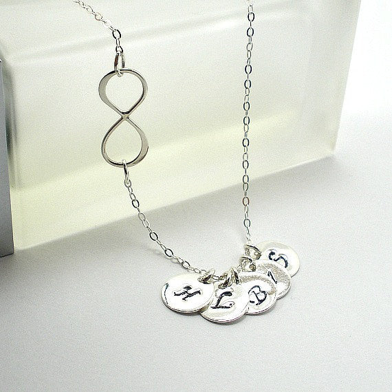 Sideways Infinity Initial Necklace Sterling Silver Personalized Jewelry
