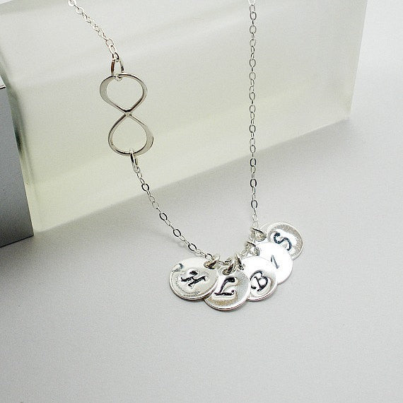 personalized infinity initial necklace sterling silver