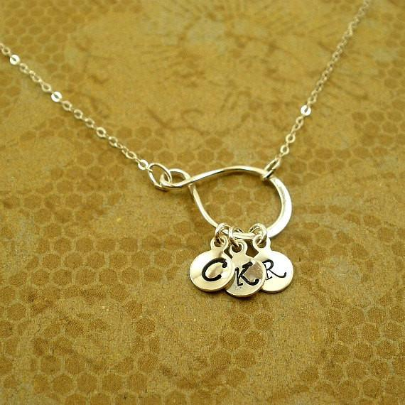 Personalized Mom Birthday Gifts, Children's Initial Necklace, Sterling Silver, message card jewelry