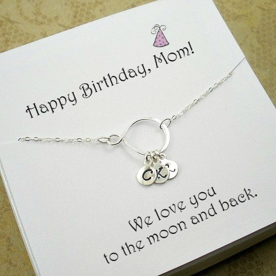 personalized mom birthday gift childrens initial necklace sterling silver